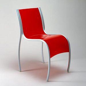 Kartell designstoel van kunststof in rood