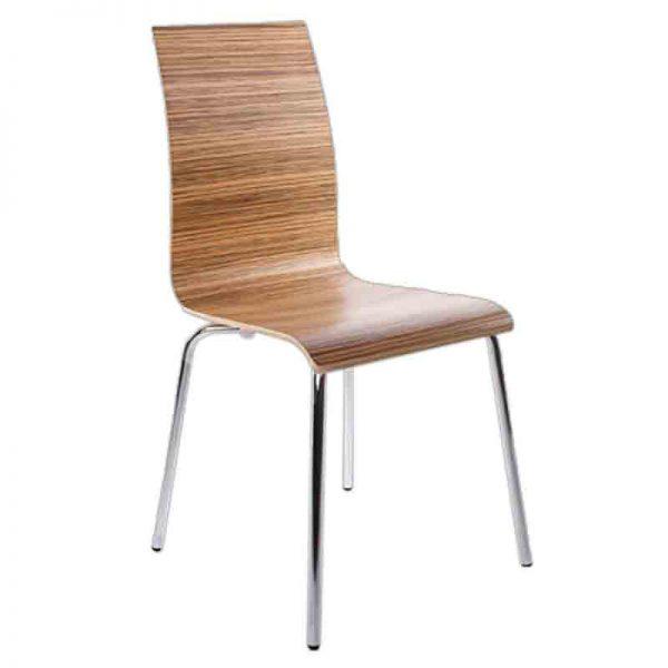 Houten stoel met zebraprint en chromen onderstel