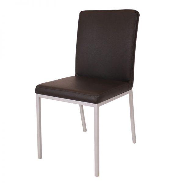 Bijzetstoel van kunstleer in zwart