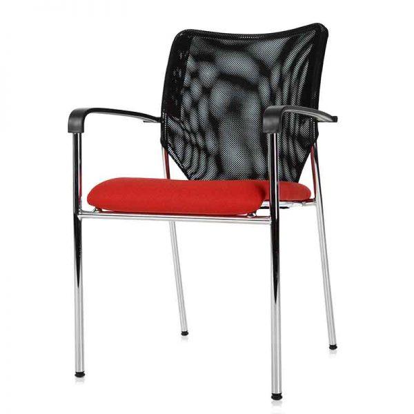 Bijzetstoel met frame van chroom en een netwave rugleuning
