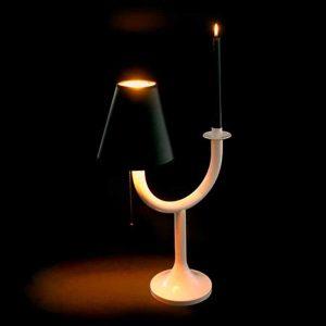 Unieke designlamp met kaars