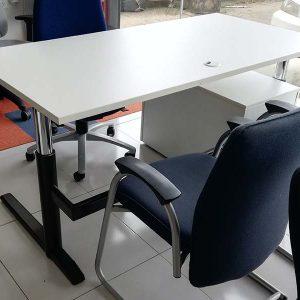 Slinger in hoogte verstelbaar bureau in wit 160x80 cm